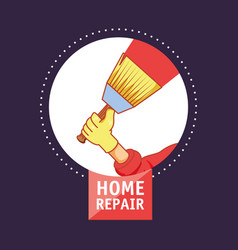 Hand with brush home repair icon vector