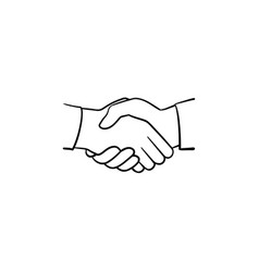 handshake hand drawn sketch icon vector image