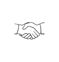 Handshake hand drawn sketch icon vector
