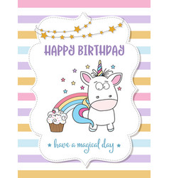 Happy birthday card with lovely baby unicorn vector