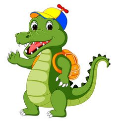 Happy crocodile cartoon going to school vector