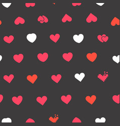 hearts symbols on black background seamless vector image