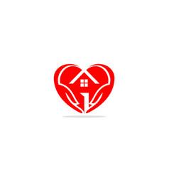 home realty love heart logo vector image