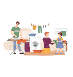 Housework man with iron woman washing laundry vector