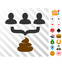 Human shit aggregator funnel icon with bonus vector