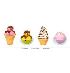ice cream refreshing desserts set vector image