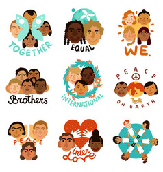 international human faces emblems vector image