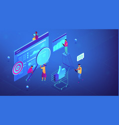Isometric digital marketing strategy team vector
