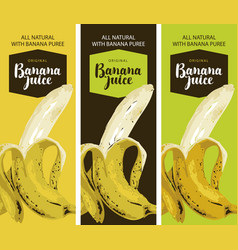Labels for juice with ripe banana and inscription vector