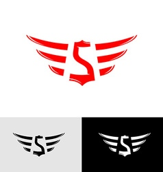 Letter s with wings east asia style logo vector