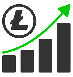 litecoin growing graph trend flat icon vector image