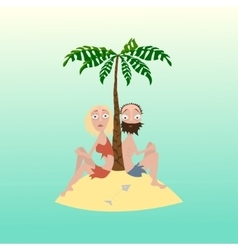 Man and woman on a desert island vector