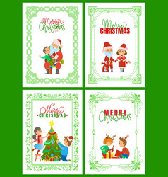 merry christmas santa claus with kid making wish vector image