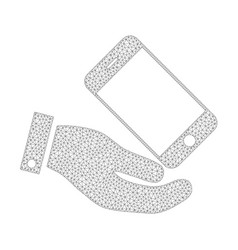 mesh smartphone offer hand icon vector image