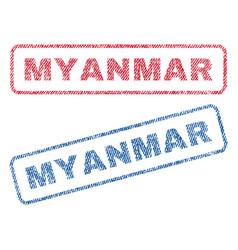 Myanmar textile stamps vector