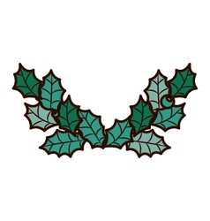 Ornament frame with leaves christmas vector