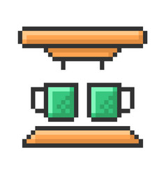 Outlined pixel icon coffee machine fully vector