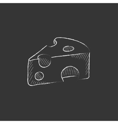 Piece of cheese Drawn in chalk icon vector