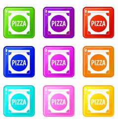 Pizza box cover set 9 vector