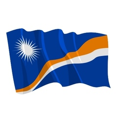 political waving flag of marshall islands vector image