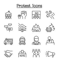 protest chaos icon set in thin line style vector image