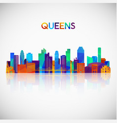 queens skyline silhouette in colorful geometric vector image