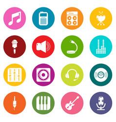 recording studio symbols icons set colorful vector image