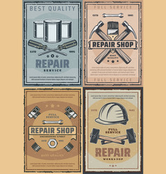 Repair work tools and renovation instruments vector