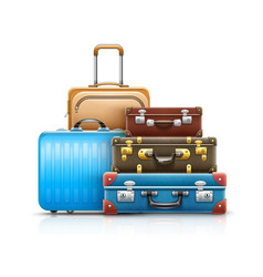 retro leather suitcases vector image