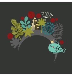 Round banner with fantastic flora vector