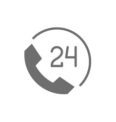 Round clock hotline 24 hours service help time vector