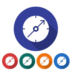Round icon of compass flat style with long shadow vector