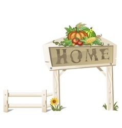 Rustic scene creative sign Home and vegetables vector