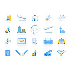 set assorted colored airport and travel icons vector image
