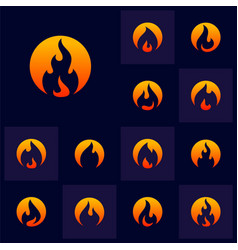 set fire flame logo design template icon symbol vector image