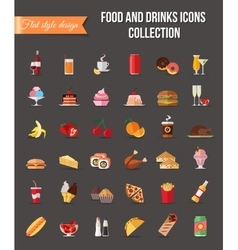 Set of colorful food and drinks icons Flat style vector