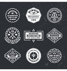 Set of vintage wedding badges sings logos vector