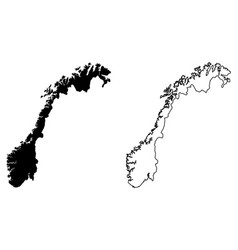 simple only sharp corners map norway drawing vector image