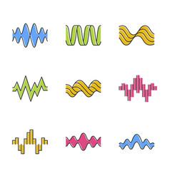 Sound waves color icons set music rhythm heart vector