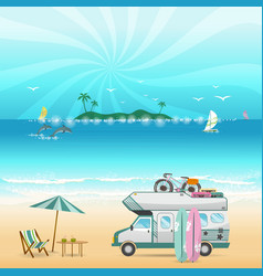 Summer beach camping island landscape with vector