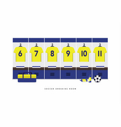 Sweden football or soccer team dressing room vector