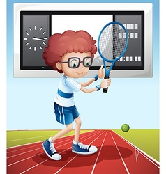Tennis player in the field vector