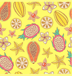 tropical fruit seamless pattern with yellow vector image