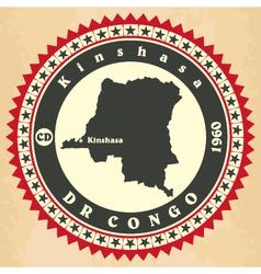 Vintage label-sticker cards democratic republic vector