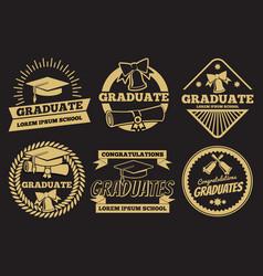 Vintage student graduate badges graduation vector