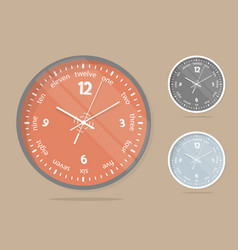 Wall clocks face set dial plate vector