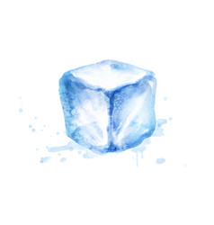 Watercolor isolated ice cube vector