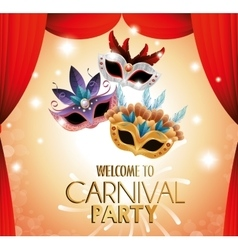 Welcome carnival party theater masks colored vector