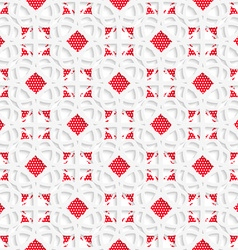 White geometrical ornament with red textured vector image