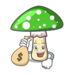 with money bag green amanita mushroom character vector image